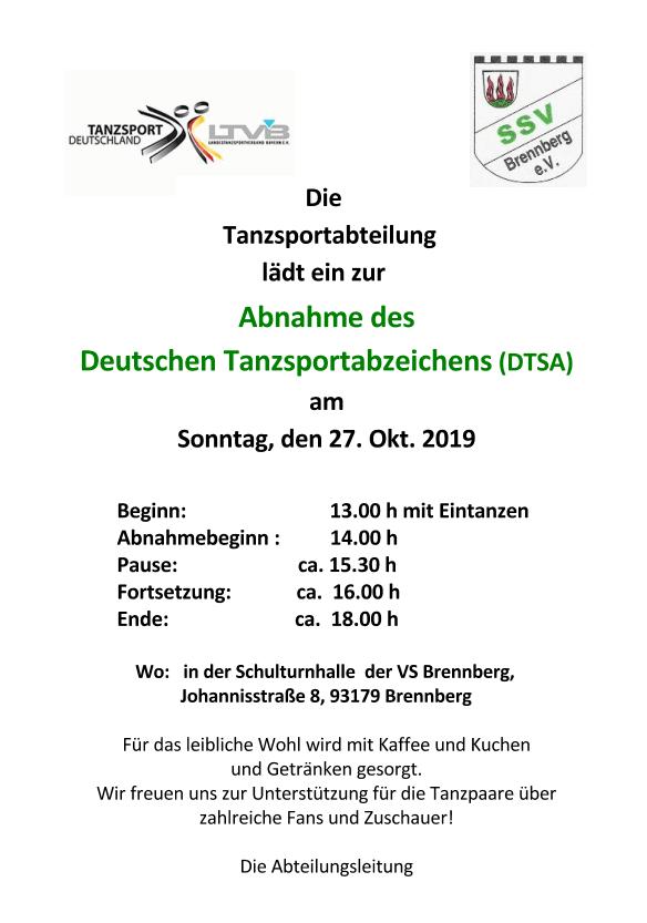 Abnahme des Deutschen Tanzsport-Abzeichens (DTSA) am 27. Okt. 2019